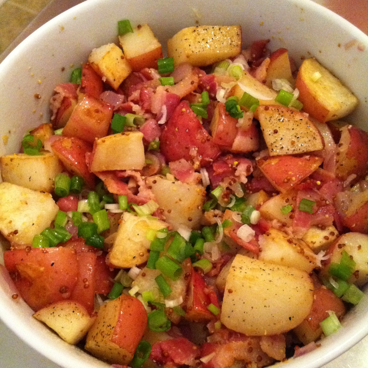 Warm Bacon Potato Salad Recipe — Dishmaps
