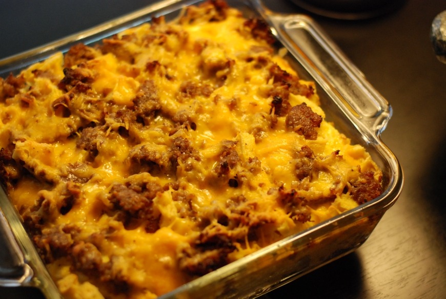 sausage and waffle breakfast casserole. | The Dough Will Rise Again