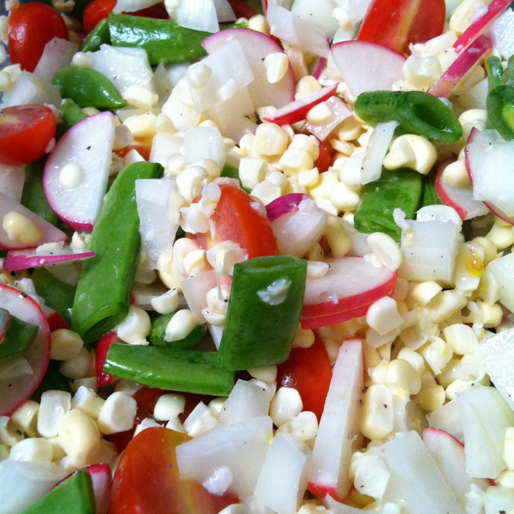 corn, grape tomato, radish, sweet onion and snap pea salad. | The ...