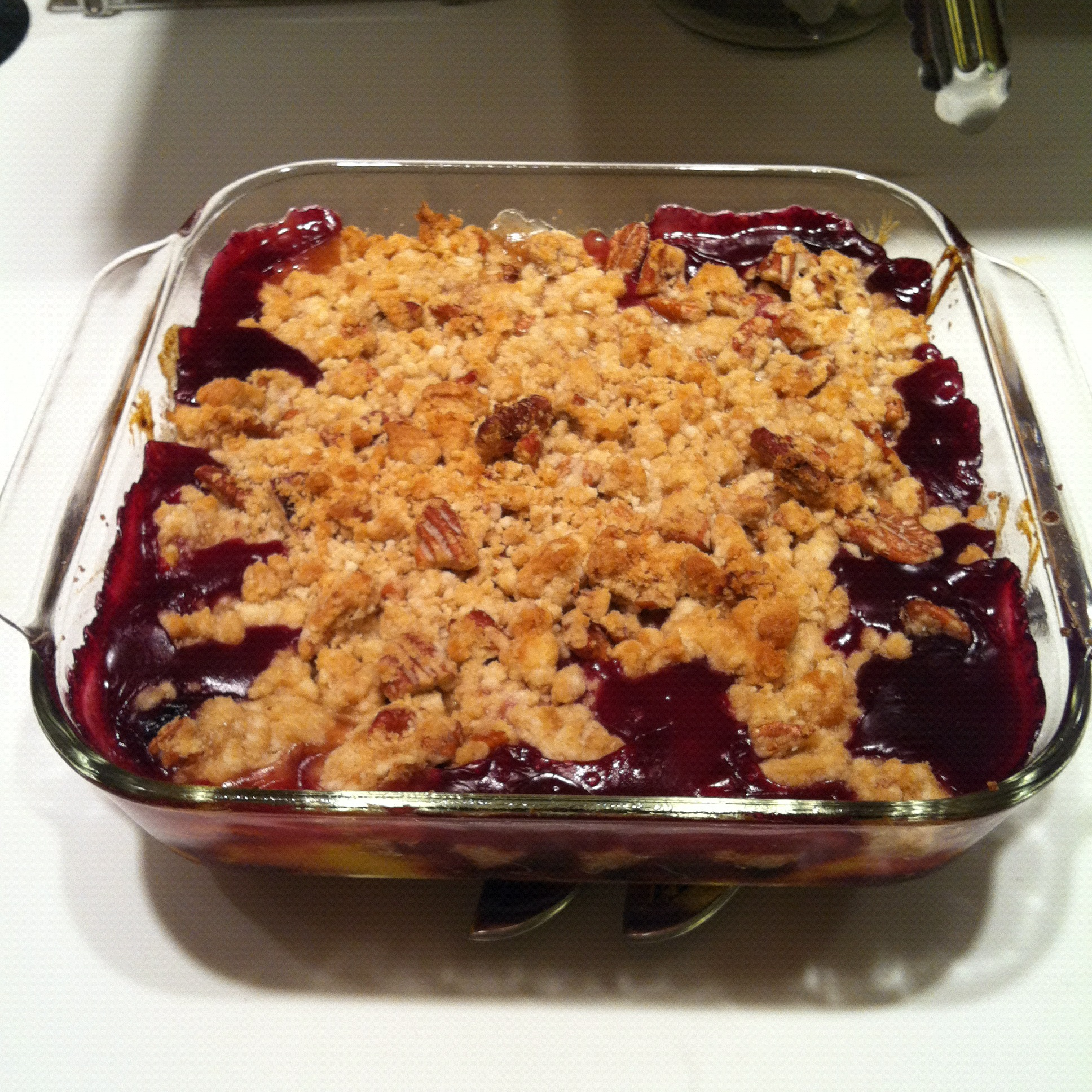 peach blueberry cobbler with pecan streusel and mascarpone ...