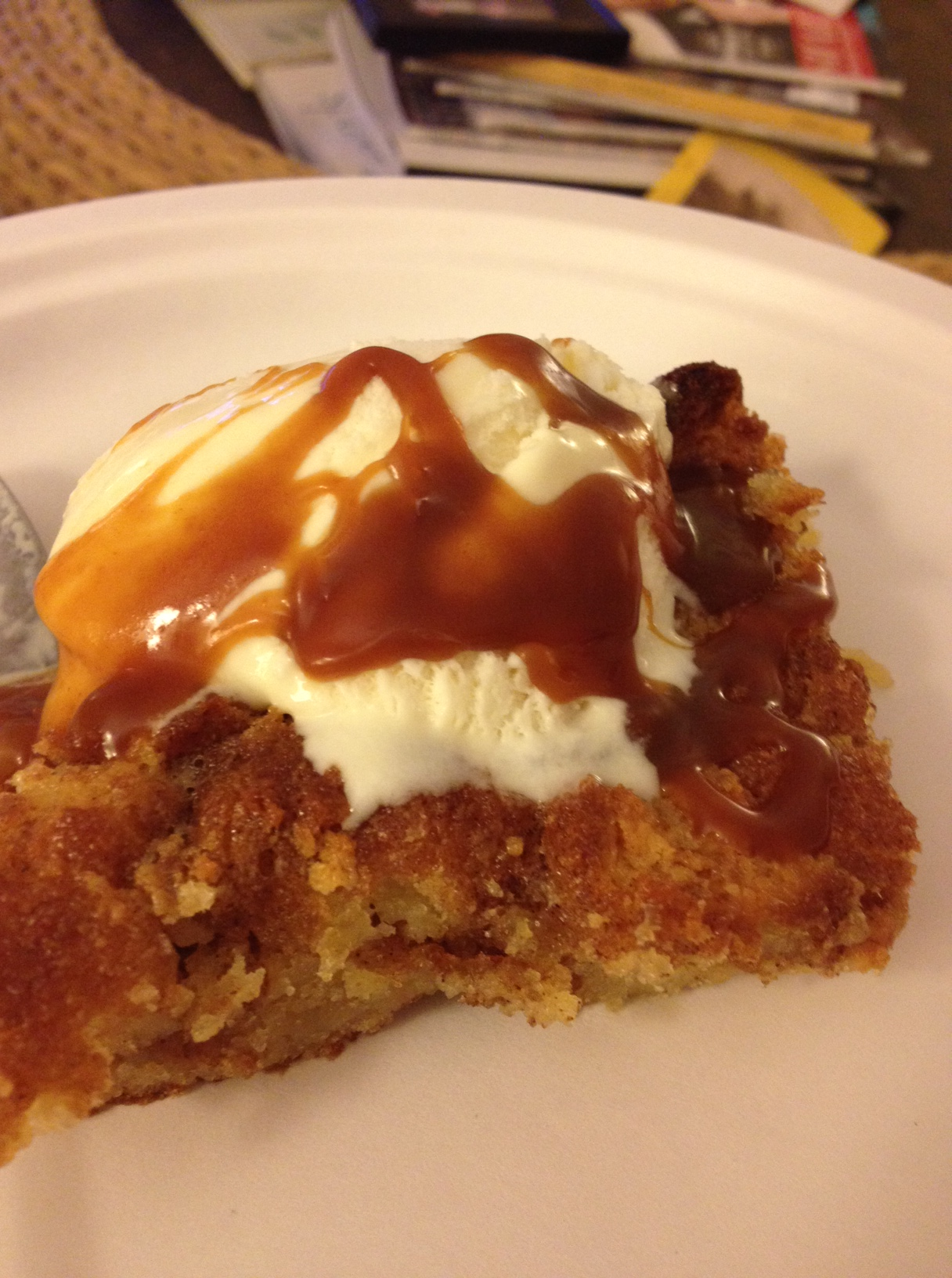 ... Donut Bread Pudding (with vanilla ice cream and salted caramel sauce