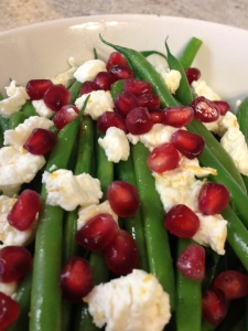 Green Beans with Orange, Goat Cheese, and Pomegranate Seeds