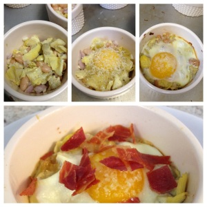 Parmesan Baked Eggs with Artichokes and Crispy Prosciutto