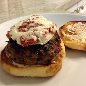 Sundried Tomato and Goat Cheese Burgers with Roasted Garlic Mayo