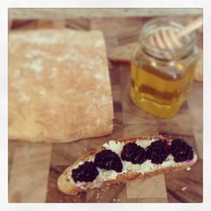 Bruschetta with Goat Cheese, Blackberries, and Honey