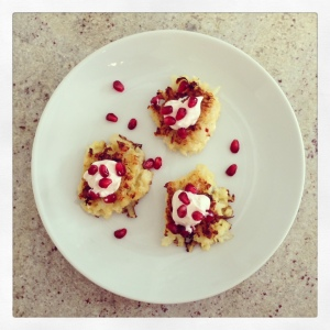 Cauliflower Fritters with Smoked Greek Yogurt and Pomegranate Seeds