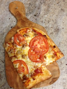 Roasted Garlic, Sausage, and Tomato Pizza