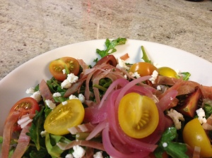 Baby Arugula Salad with Prosciutto, Heirloom Tomatoes, and Pickled Red Onion