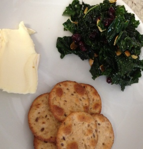 (Our Sunday lunch was a pile of kale salad, a lump of brie, and some whole grain pita crackers. SO GOOD.)