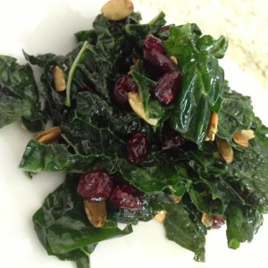 Lemony Kale Salad with Dried Cranberries and Pepitas