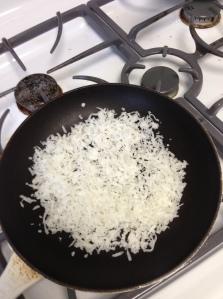 Toasting coconut