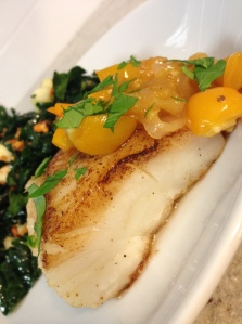 Pan-Roasted Cod with Tomato and Shallot Jam