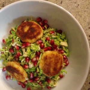 Shredded Brussels Sprouts Salad with Pomegranate and Fried Goat Cheese