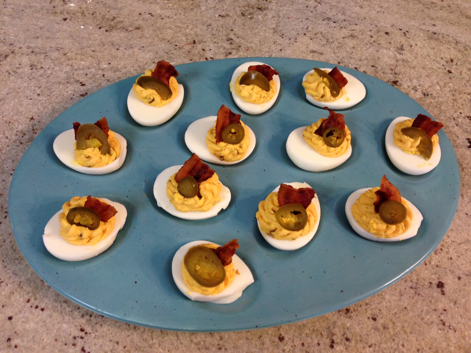 Sriracha Deviled Eggs with Bacon | The Dough Will Rise Again