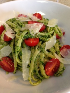 Linguine with Kale Pesto, Cherry Tomatoes, and Shaved Parmesan