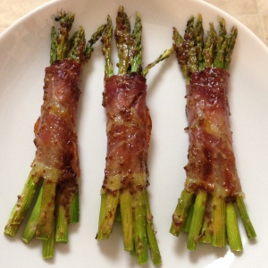 Prosciutto-Wrapped Asparagus with Honey and Whole Grain Mustard Glaze