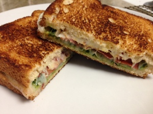 Grilled Cheese with Kale Pesto and Prosciutto