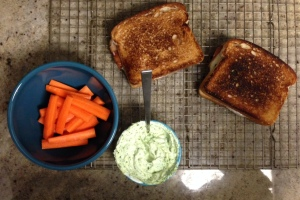 Grilled Cheese with Kale Pesto and Prosciutto, Kale Pesto and Greek Yogurt Vegetable Dip