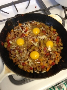 Potato and Sausage Skillet with Baked Eggs