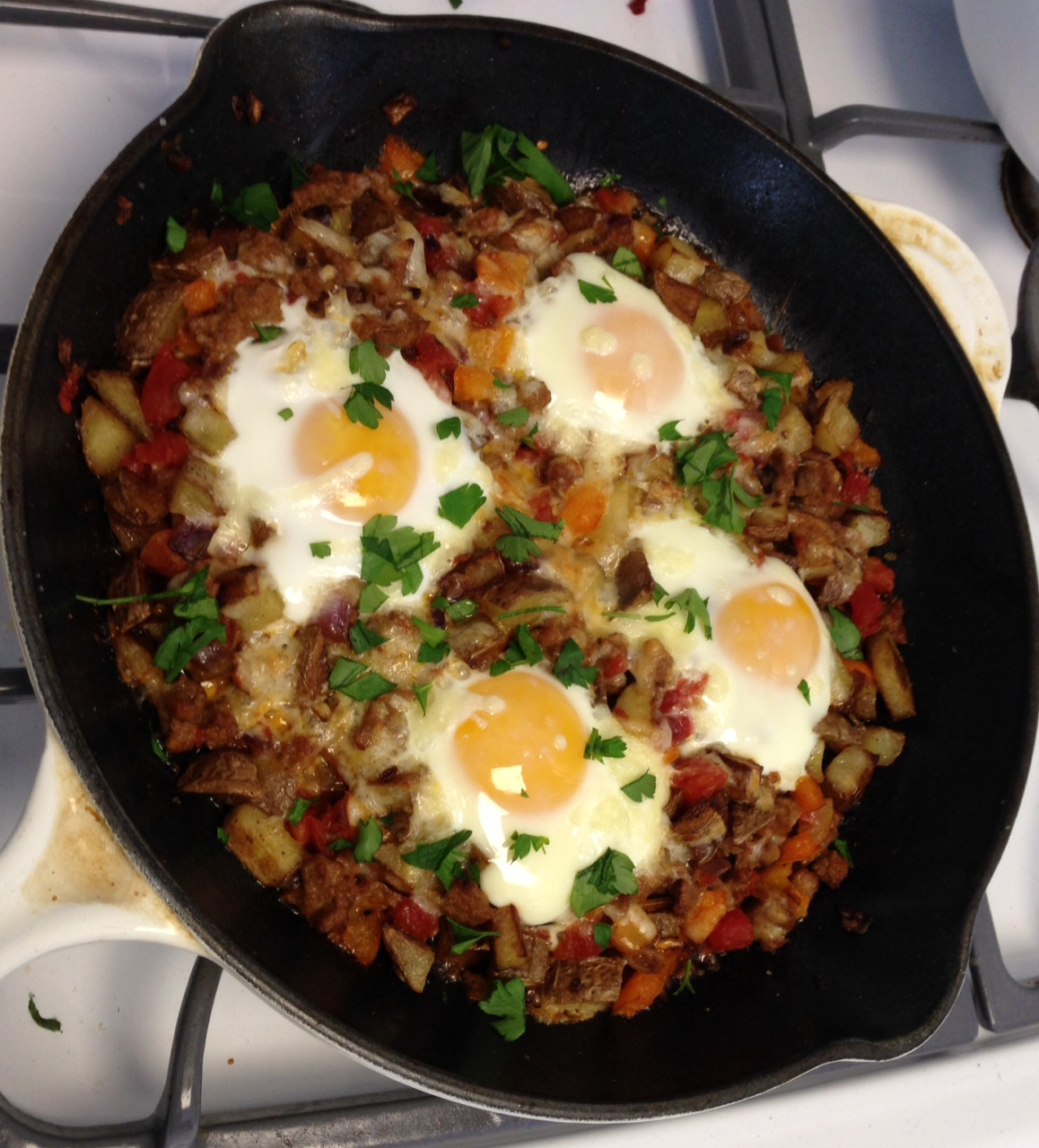 Potato and Sausage Skillet with Baked Eggs | The Dough Will Rise Again