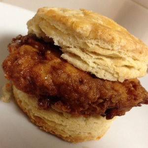 Buttermilk Fried Chicken Biscuits with Honey and Hot Sauce