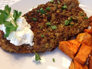 Pistachio Crusted Tilapia with Lemon Goat Cheese