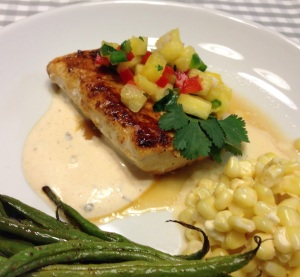 Honey Lime Mahi Mahi with Pineapple Salsa and Chipotle Lime Crema
