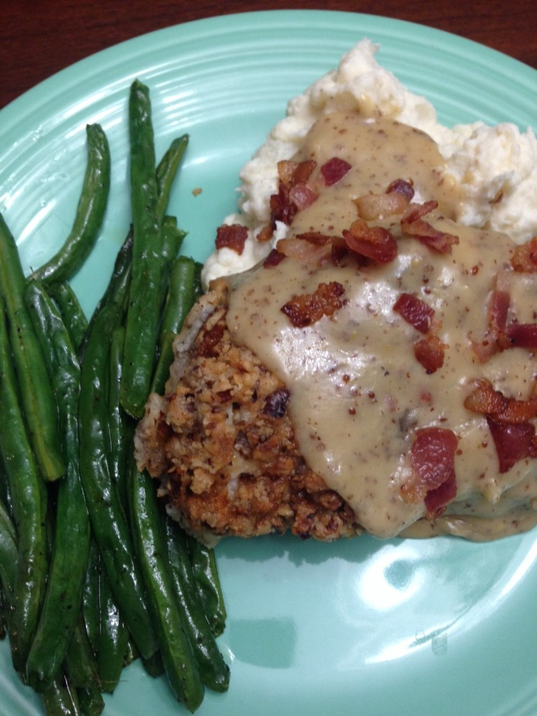 pecan chicken with bourbon maple cream sauce.