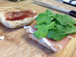 Gruyere and Black Pepper Biscuit Sandwiches (with Strawberry Balsamic Jam)