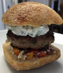 Lamb Burgers with Tzatziki, Tomatoes, and Feta