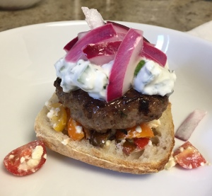 Lamb Burgers with Tzatziki, Tomatoes, and Feta