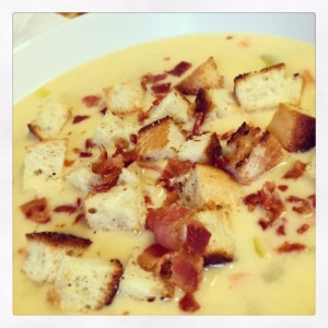 Cheddar Ale Soup with Bacon and Garlic Croutons
