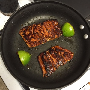Smoky Brown Sugar-Crusted Salmon with Avocado Cream