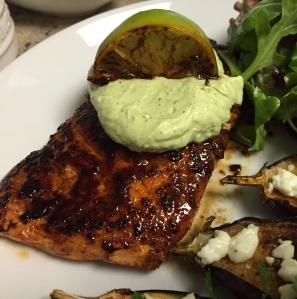 Smoky Brown Sugar-Crusted Salmon with Avocado Cream