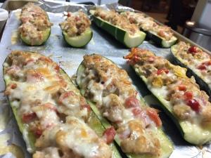 Sausage Stuffed Zucchini Boats