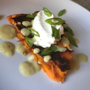 Sweet Potato Tart with Fire-Roasted Green Chile Sauce and Whipped Ricotta