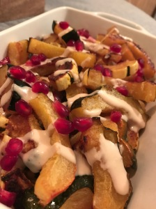 Roasted Squash with Tahini Maple Sauce and Pomegranate