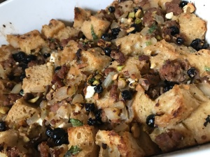 Sausage Dressing with Pistachios and Blueberries