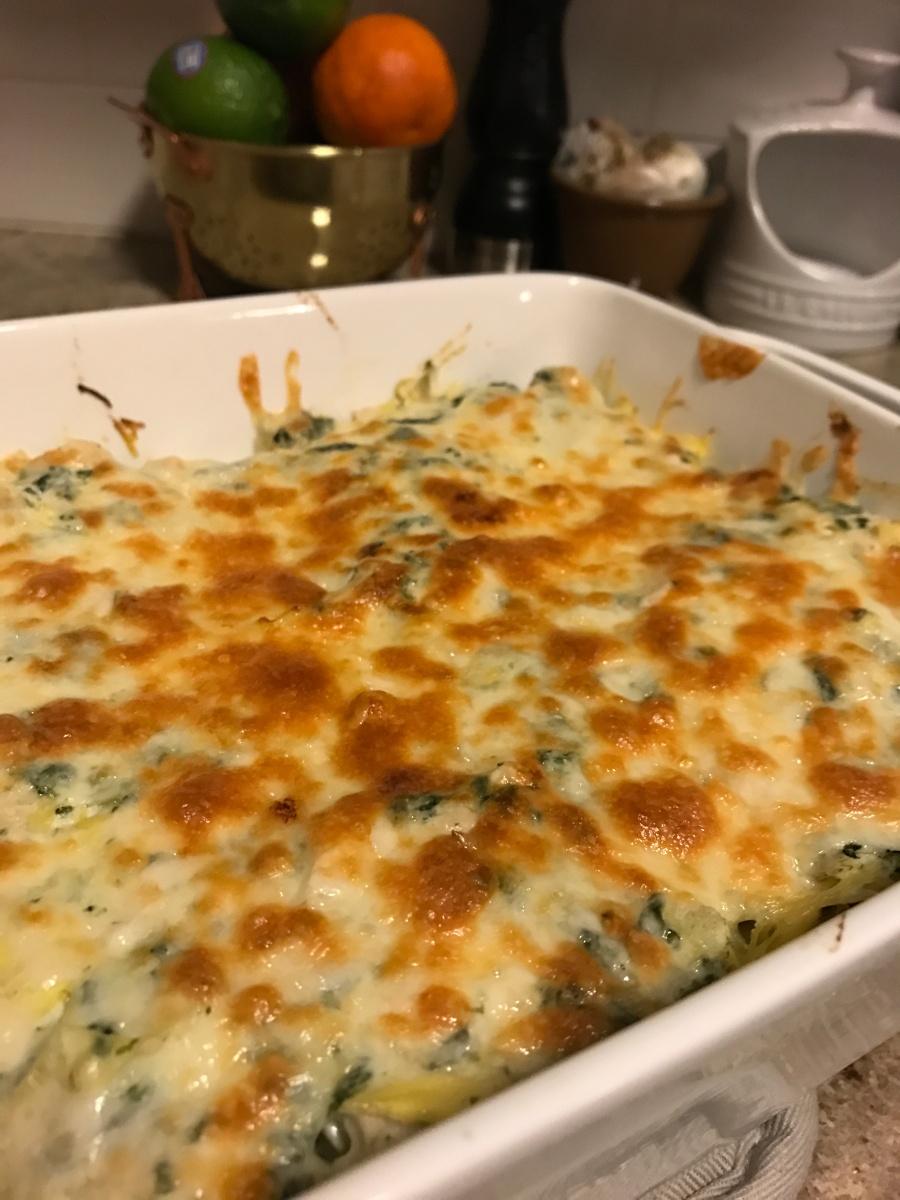 Spinach, Artichoke, and Chicken Spaghetti Squash Bake